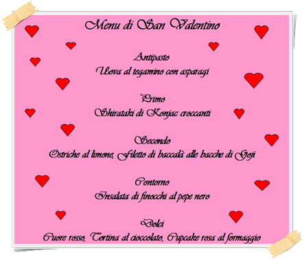 Menù di San Valentino 2014