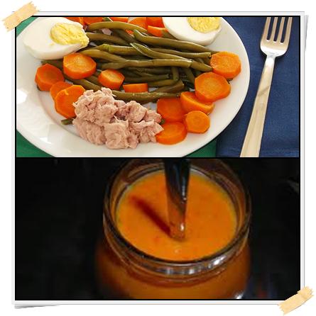 Ricetta dell'insalata Dukan di fagiolini e tonno con salsa al peperone rosso (dalla fase di crociera)